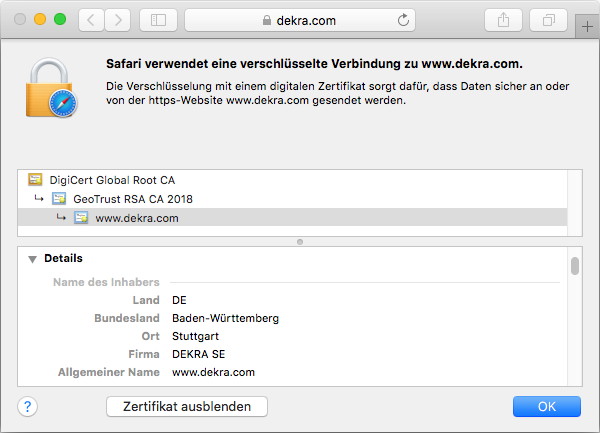 Detail des SSL-Zertifikats GeoTrust True BusinessID Wildcard in der Adressleiste des Browsers