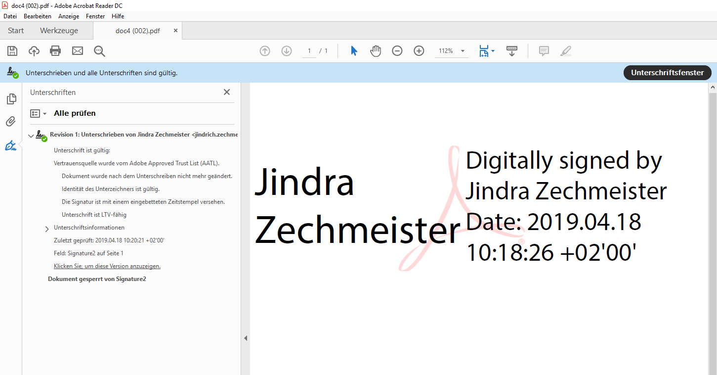 Signatur in Adobe Reader